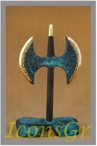 Ancient Greek Bronze Museum Statue Replica of Double Axe of Crete (259)