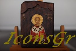 Wooden Greek Orthodox Wood Icon of Saint Nicolas / G1 [Toy] - $57.92