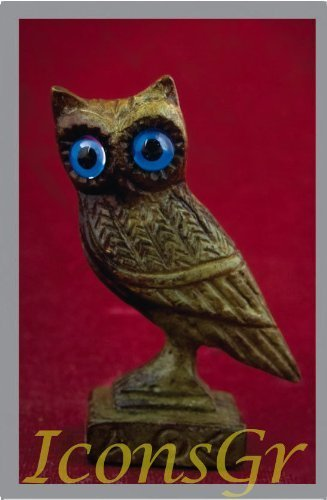 Ancient Greek Bronze Museum Statue Replica of Owl on a Podium (1526) [Kitchen]