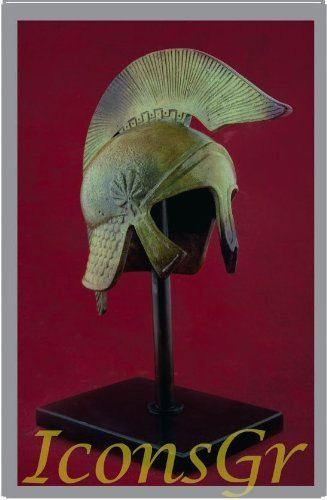 Ancient Greek Bronze Museum Replica of Athenian Helmet on a Base(1357-1)