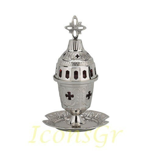 Greek Christian Orthodox Bronze Table Oil Lamp - 8652n