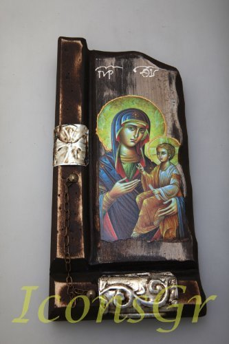 Wooden Greek Christian Orthodox Wood Icon of Mother of Jesus / P9 [Kitchen]