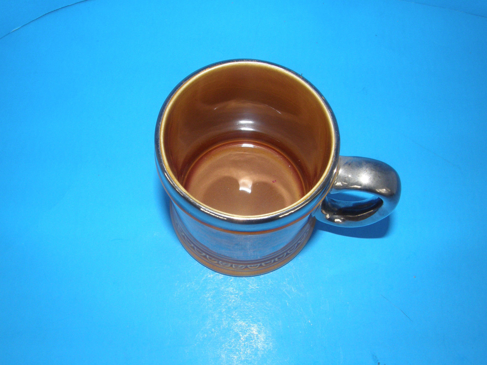 VINTAGE LORD NELSON POTTERY ENGLAND BERMUDA MUG/CUP STEIN  SILVER OVERLAY