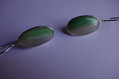 24.50 CTS NATURAL CHALCEDONY GREEN & WHITE SILVER PLATED READY TO WEAR EARRINGS#