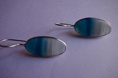 27.65 CTS NATURAL CHALCEDONY BLUE & WHITE SILVER PLATED READY TO WEAR EARRINGS#A