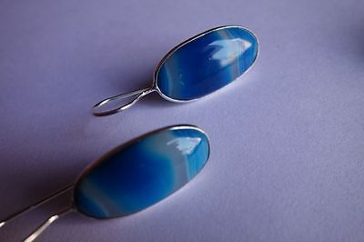 27.10 CTS NATURAL CHALCEDONY BLUE & WHITE SILVER PLATED READY TO WEAR EARRINGS#A