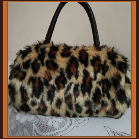 Faux Fur Clutch Evening Hand Bags Comes Six Choice Colors Leopard - White