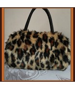 Faux Fur Clutch Evening Hand Bags Comes Six Choice Colors Leopard - White - $49.95