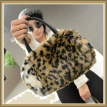 Faux Fur Clutch Evening Hand Bags Comes Six Choice Colors Leopard - White image 4