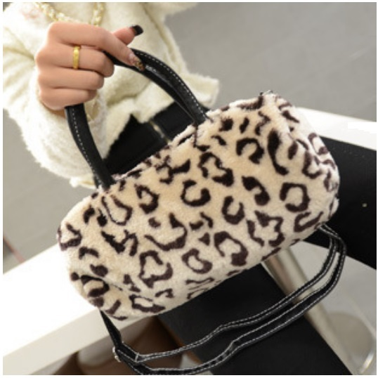 Faux Fur Clutch Evening Hand Bags Comes Six Choice Colors Leopard - White