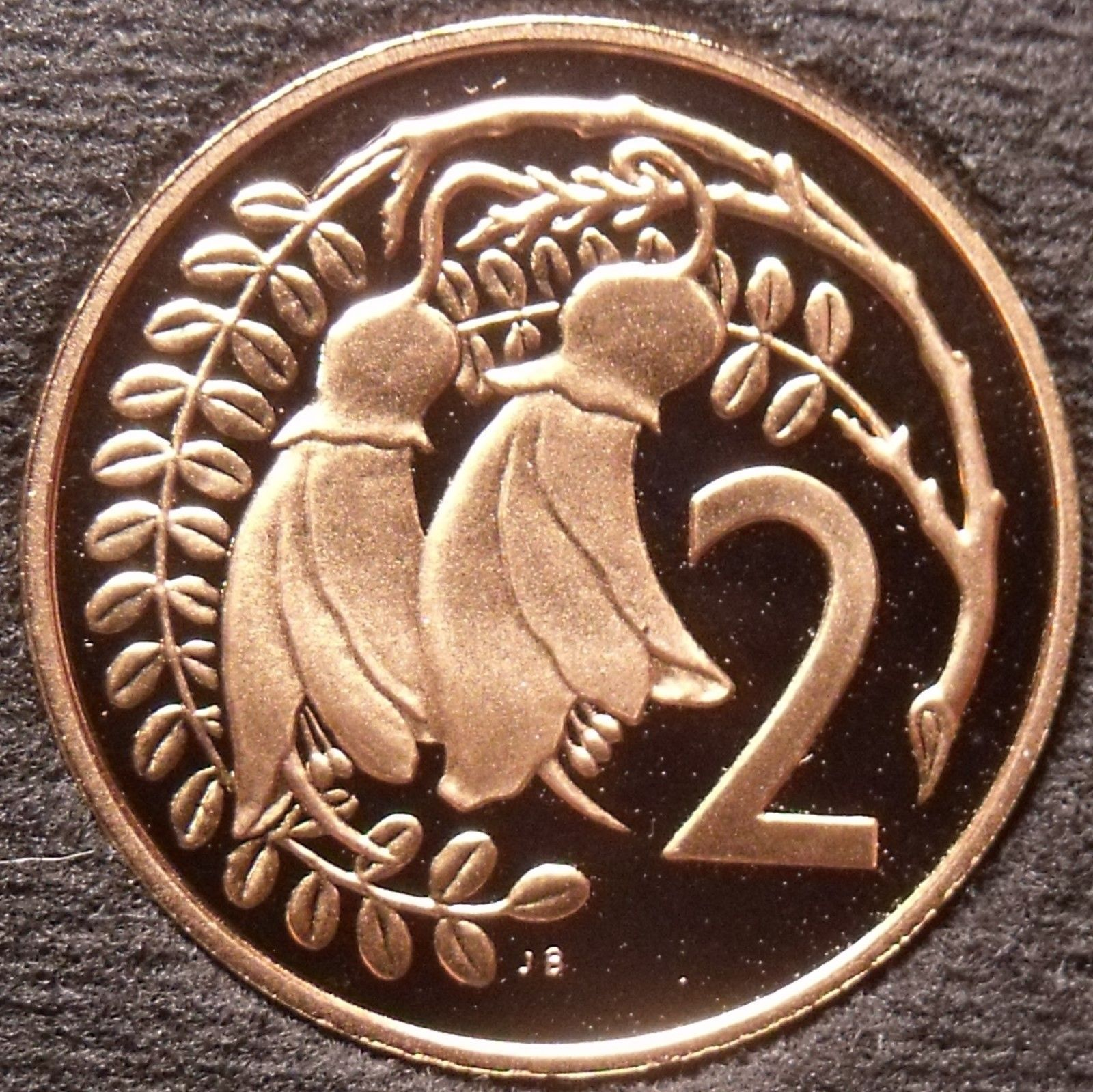 Rare Proof New Zealand 1983 2 Cents~Only 18,000 Minted~Kowhai Leaves~Free Ship