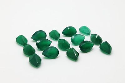 4X6MM NATURAL GREEN ONYX FACETED CUT STONE PEAR 10 CARAT WEIGHT  #AG4214