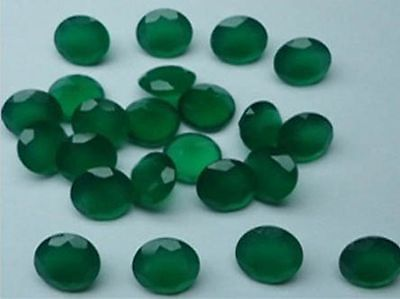 5MM NATURAL GREEN ONYX FACETED CUT STONE ROUND 10 CARAT WEIGHT  #AG4215