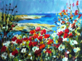 Poppies By The Bay: Original painting by Ginger Cook - $55.00