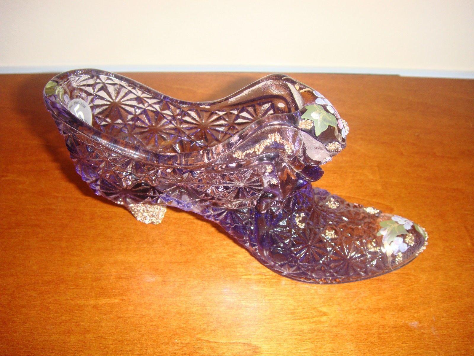 Fenton Violet Hand Painted Shoe Slipper