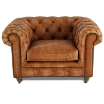 MarquessLife Handmade Tufted Couch Chesterfield Style Aged Leather Single Sofa image 2