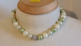 """16""""VINTAGE SIGNED N GREEN BIG ROUND CHUNKY BEADED STRAND NECKLACE,FORMAL... - $5.93"""