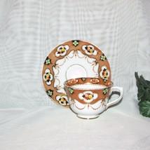 ROYAL ALBERT CROWN CHINA CUP & SAUCER 4315 RUST COBALT BLUE GREEN FLOWER... - $19.99
