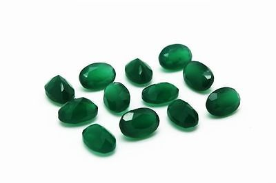 8X10MM NATURAL GREEN ONYX FACETED CUT STONE OVAL 10 CARAT WEIGHT  #AG4210