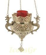 Greek Christian Orthodox Bronze Oil Lamp with Chain - 9688b [Kitchen] - $223.83