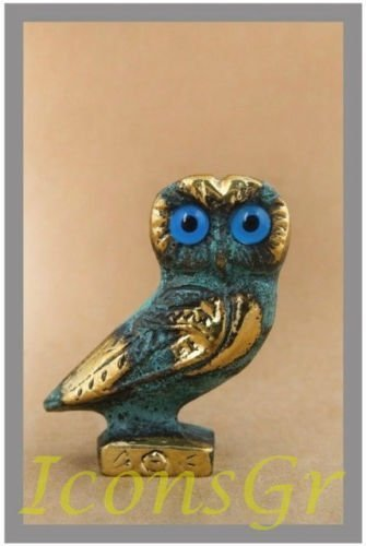 Ancient Greek Bronze Museum Statue Replica of Owl on a Podium (515) [Kitchen]