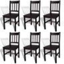 vidaXL Dining Chair Side Seat Brown Solid Pine Wood Kitchen Living Room ... - €67,70 EUR+