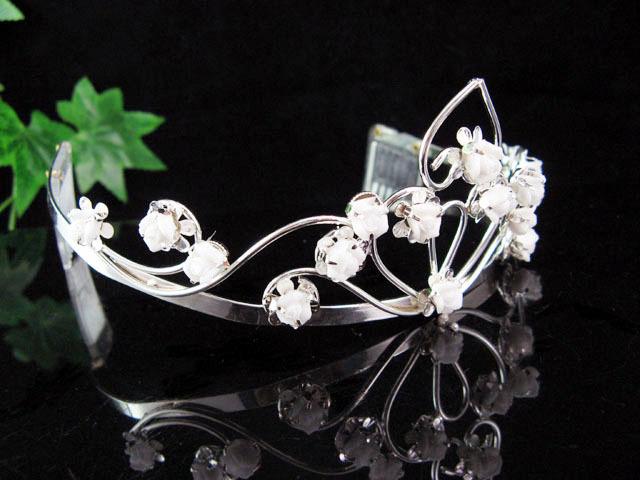 WEDDING TIARA,BRIDE BRIDESMAID BRIDAL CROWN CUTE PORCELAIN FLORAL HEADPIECE 4881