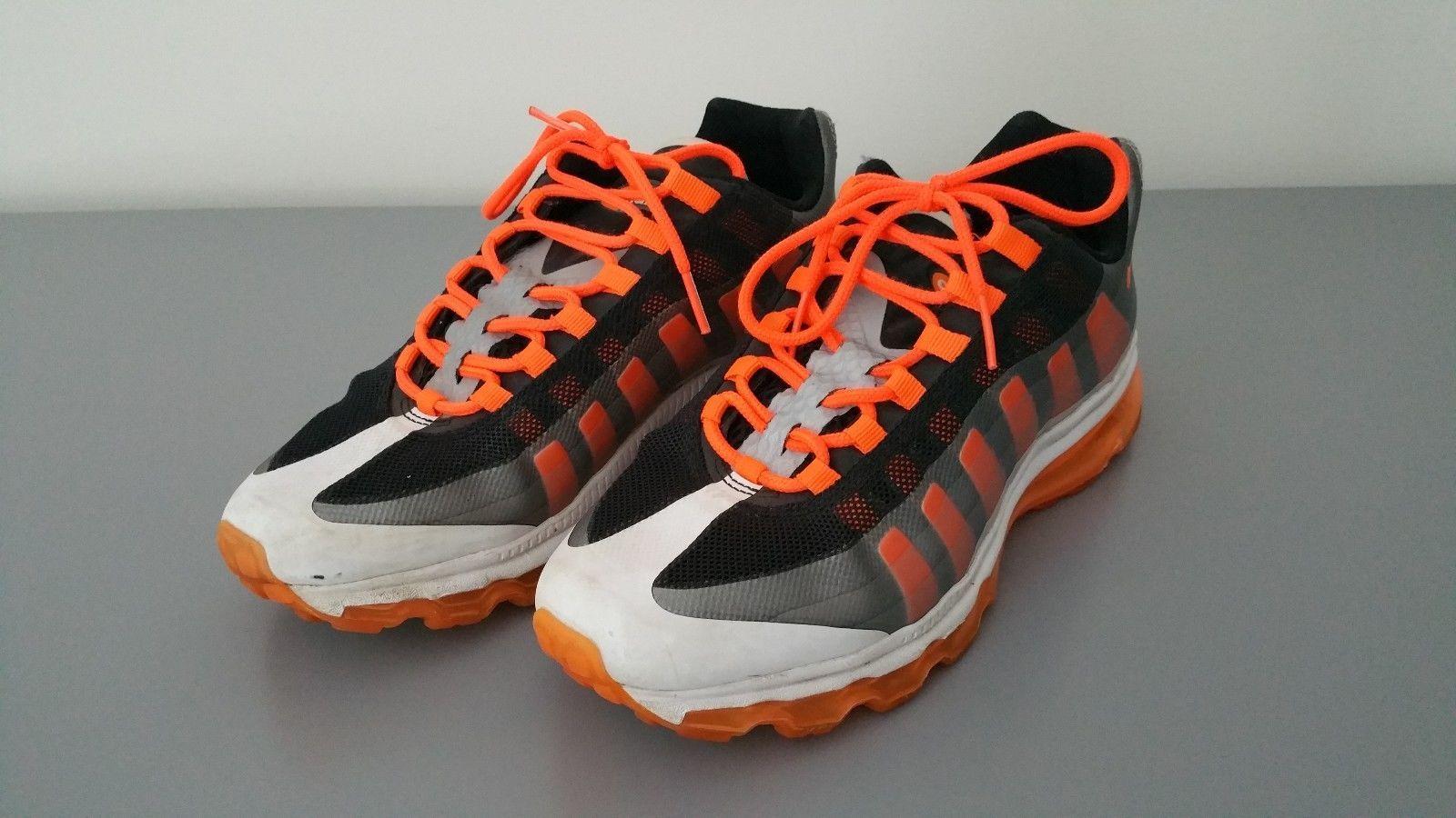 Nike 512169-007 GS Air Max 95 BB Running Shoes Orange Black White Size 7Y