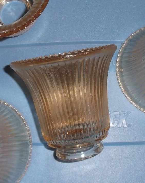 """4  AMBER CHANDELIER OR FAN GLOBES/SHADES RIBBED 4 3/4"""" H X 4 1/2"""" W"""