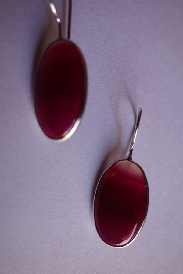 22.25CTS NATURAL CHALCEDONY PINK & WHITE SILVER PLATED READY TO WEAR EARRINGS#AG