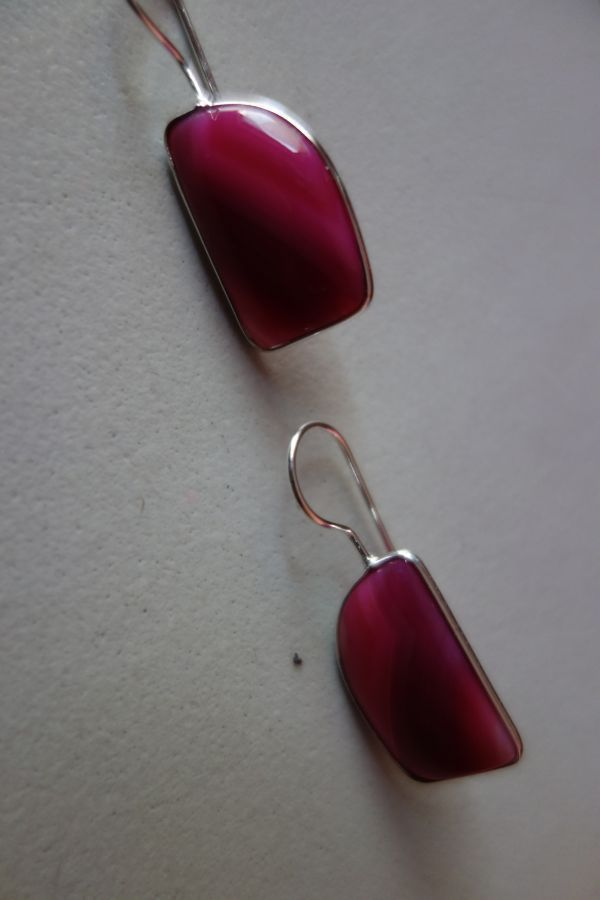 29.20CTS NATURAL CHALCEDONY PINK & WHITE SILVER PLATED READY TO WEAR EARRINGS#AG
