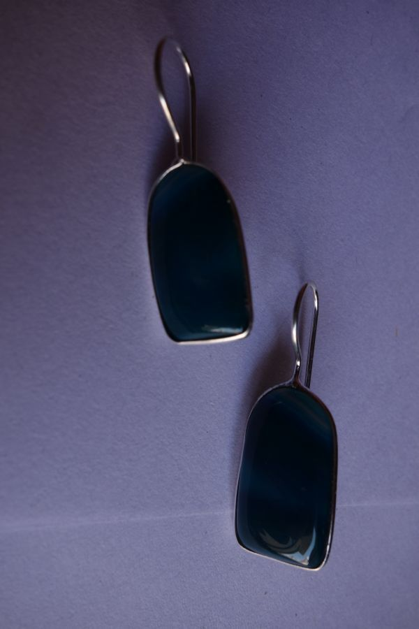 24.45CTS NATURAL CHALCEDONY BLUE & WHITE SILVER PLATED READY TO WEAR EARRINGS#AG