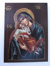 Wooden Greek Christian Orthodox Wood Icon of Mother of Jesus / A2_4 [Kitchen] - $26.56