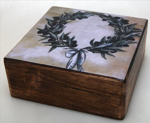 Handmade Greek Wooden Wood Box with the Olive Wreath / R31_3 [Kitchen]