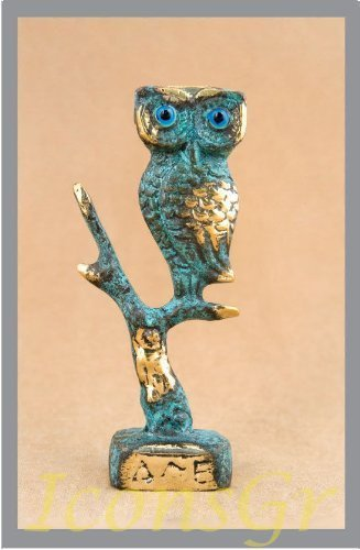 Ancient Greek Bronze Museum Statue Replica of Owl on a Podium (547) [Kitchen]