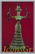 Ancient Greek Bronze Museum Statue Replica of Snake Goddess (1250) [Kitc... - $78.80 CAD