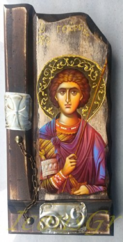 Details About Wooden Greek Christian Orthodox Wood Icon of Saint George /P9