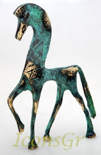 Ancient Greek Bronze Museum Statue Replica of Horse From Geometric Era (123)