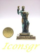 Ancient Greek Zamac Miniature Statue of Dimitra (Green / Gold Oxidication) - $12.64