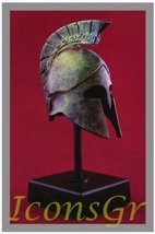 Ancient Greek Bronze Museum Replica of Athenian Helmet on a Base(1389-1) - $58.70