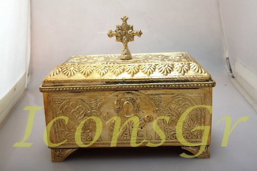 Handmade Greek Bronze Storage Box with Cross (4088b)