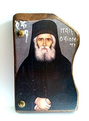 Handmade Wooden Greek Orthodox Wood Icon of Saint Elder Paisios / Mp4.1