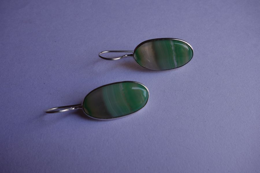 28.10CTS NATURAL CHALCEDONY GREEN & WHITE SILVER PLATED READY TO WEAR EARRINGS#A