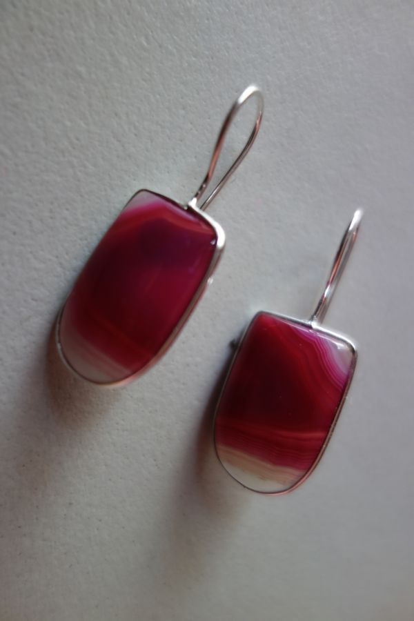 28.70CTS NATURAL CHALCEDONY PINK & WHITE SILVER PLATED READY TO WEAR EARRINGS#AG