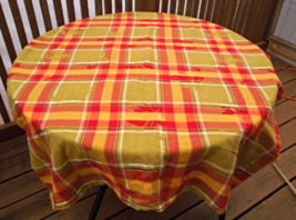 "Plaid Cotton Tablecloth - Red, Green and Gold.  Approximately 52"" x 72""  #5042 image 1"