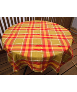 "Plaid Cotton Tablecloth - Red, Green and Gold.  Approximately 52"" x 72"" ... - $14.99"