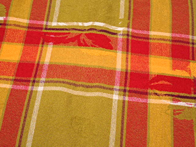 "Plaid Cotton Tablecloth - Red, Green and Gold.  Approximately 52"" x 72""  #5042 image 2"