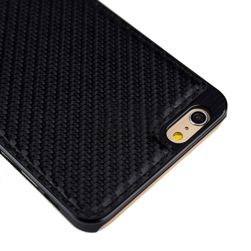 iPhone 6 Plus Carbon Fiber Texture PU Paste Skin Metal style wallet case