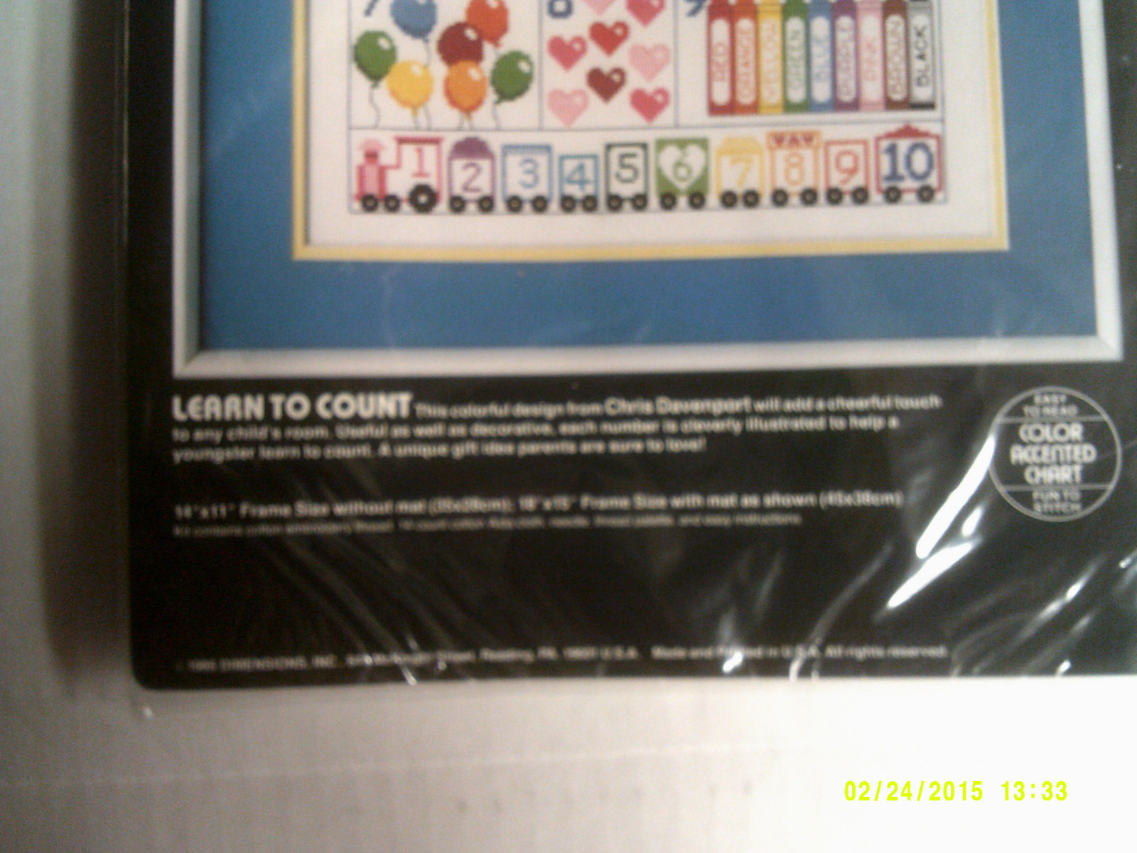 """Vintage 1986 14"""" x 11"""" Dimensions Counted Cross Stitch Kit 3620"""