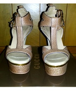 Authentic Gucci Iman T-Strap Platform Sandals Size 34.5 - $495.00